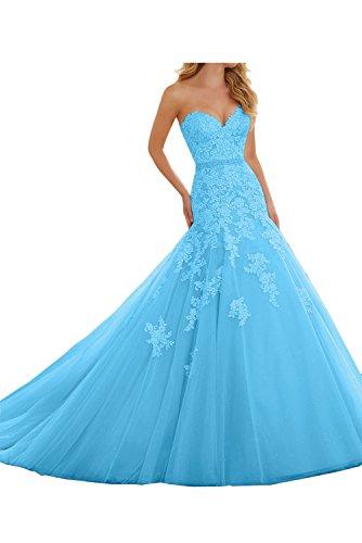 Spitze Ivydressing Ballkleid Mermaid Partykleider Hochwertig Blau Herzform Damen Abendkleider Promkleid 7qp4O