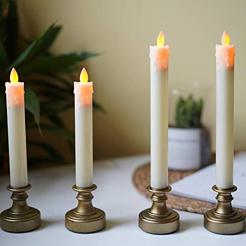QILICHZ Realistic Battery Operated flameless led Candle Light Flickering Bulb with Tear Drips Wax,Antique Brass Candlestick for Vintage Wedding,Christmas Table centerpieces Set of 4
