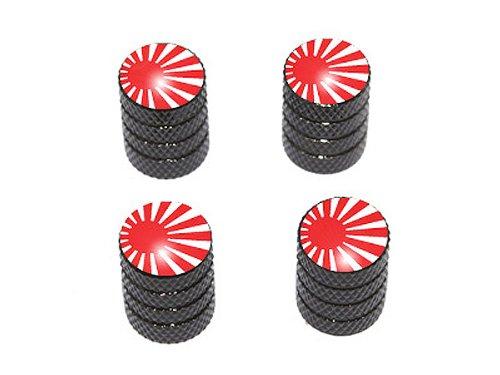 Japan Flag - Rising Sun Tire Rim Valve Stem Caps - Black