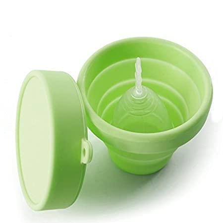 Pink Collapsible Silicone Cup Foldable Sterilizing Cup for Menstrual Cup for Moon Cup