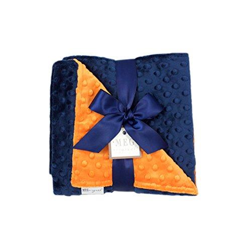 MEG Original Minky Dot Baby Boy Blanket, Navy Blue & Orange