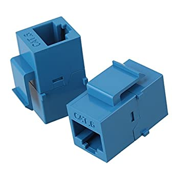 RDEXP Blue Cat6 RJ45 Ethernet Inline Jack Coupler Keystone Latch 8p8c Adapter Plug Set of 25