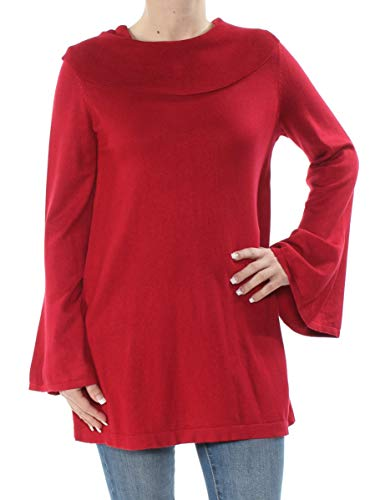 Alfani Womens Cowl Neck Bell Sleeve Pullover Sweater Red - Alfani Sweater Red