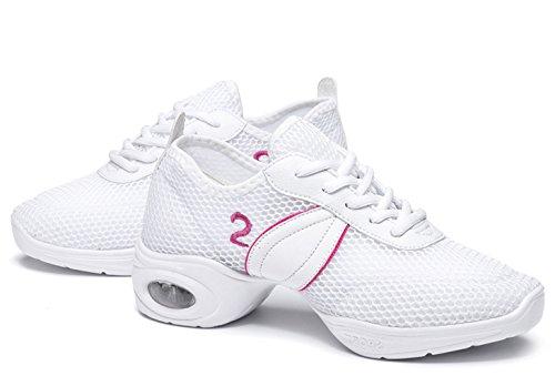 VECJUNIA Damen Fitness Athletische Turnschuhe Modernen Sommer Sneakers Soft Geteilter Sohle Jazz Mesh Dance Schuhe Weiß