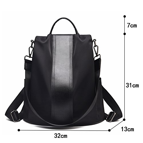 Backpack Women Shoulder Barwell theft bags Rucksack Waterproof Anti Dayback Nylon Ladies Bags Black School H5adwqP