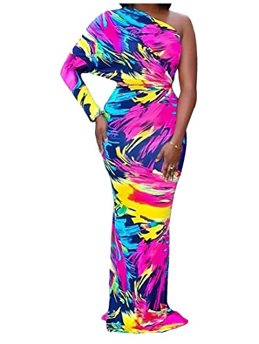 Alion Des Femmes De Colorant De Cravate Imprimé Robe Sexy Une Robe De Soirée Robe Maxi Épaule 1