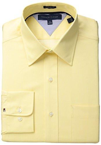 Tommy Hilfiger Men's Regular Fit Pin Stripe, Sunlight, 16 32/33