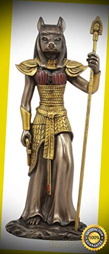 KARPP Egyptian Goddess Bastet Cat with Spear Statue 11''H Ubasti Goddess of  Protection Perfect Indoor Collectible Figurines