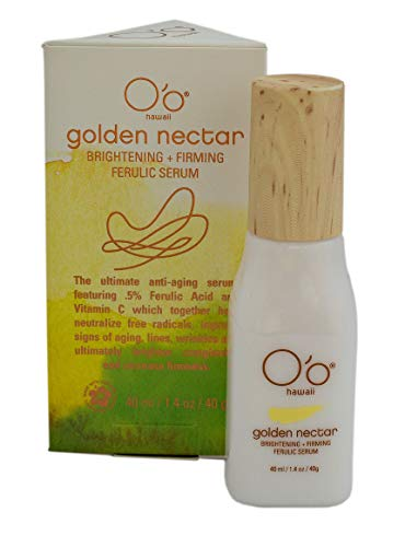 O'o Hawaii Golden Nectar Brightening and Firming Ferulic Serum, Anti Wrinkle and Anti Aging Hyaluronic Acid and Vitamin C, 1.4oz