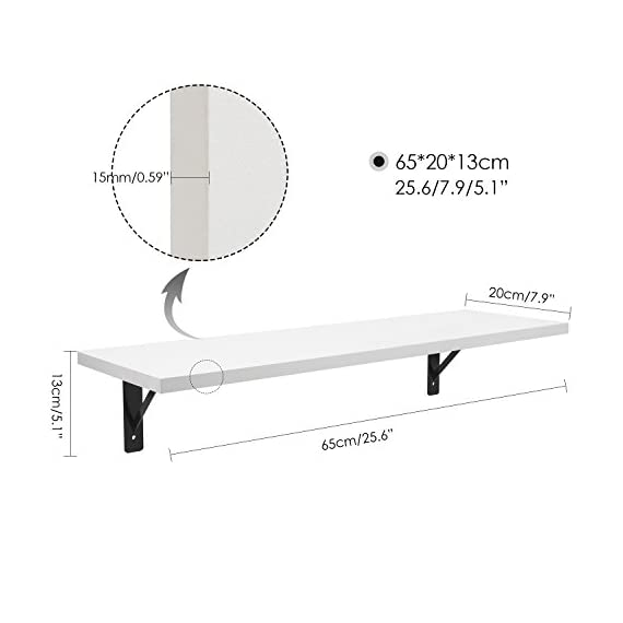 Homfa Floating Shelves Set of 2 Wall Mounted Display Rack Ledge Shelf with Bracket Modern Home Decor for Bedroom, Living Room - 1.HIGH QUALITY MATERIAL: Made of high grade melamine faced panels,with the wear resistance and durable, excellent stain resistance, good breath-ability, anti-stripping,Eco-friendly spray painted finish which makes it easy to clean. 2.SPACE-SAVING: This wall mounted floating shelf is suitable for holding books, phones ,wallet,keys and any other small items,which is perfect for saving your room space. 3.DECOTATE YOUR HOME: Light weight and creative design with the hidden bracket hanging system to display vases, family pictures and collectibles which makes your home more luxurious and elegant. - wall-shelves, living-room-furniture, living-room - 41JoSXlBE L. SS570  -
