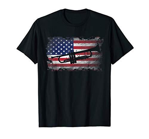 Trumpet American Flag Shirt USA Patriotic Love Music Gift T-Shirt