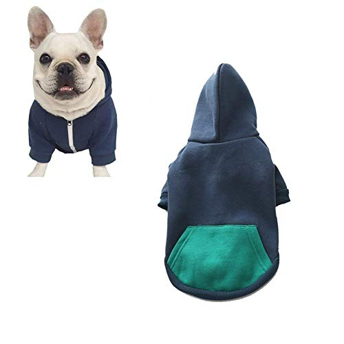 Meioro Dog Clothes Hoodies Pet Cat Warm Soft Cotton Zipper Sweater Coat French Bulldog Pug (L, Dark Blue)