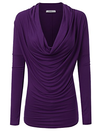 Long Sleeve Cowl Neck Top - 9