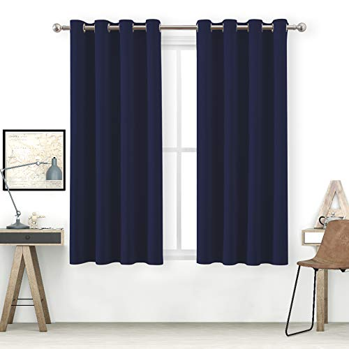 bluCOASTLINE Blackout Curtains for Bedroom Premium Heavyweight Material Light Blocking Privacy Protection UV Cut Thermal Insulated Grommet Top Window Drapes (Two Panels, 52x63 inch, Navy - Heavyweight Material
