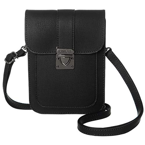 MINICAT Women Simple Series Small PU Leather Crossbody Cell Phone Purse Wallet(Black)