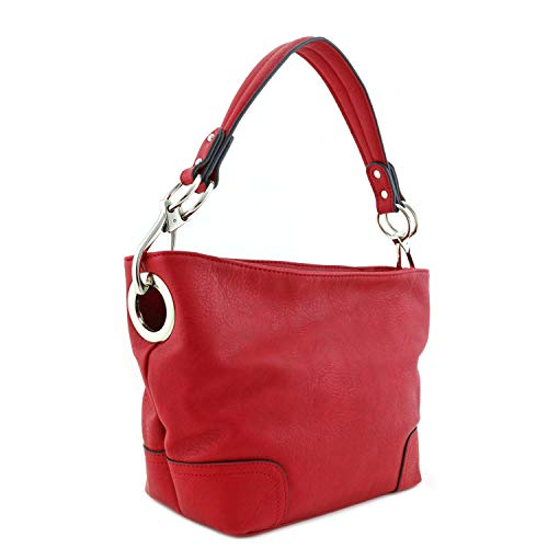 (Small Hobo Shoulder Bag with Snap Hook Hardware Red)