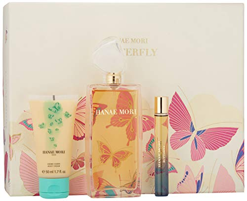Hanae Mori 3 Piece Butterfly Eau de Parfum Spray Gift Set for Women