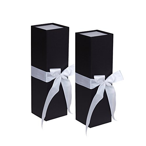 Jillson Roberts 2-Count Wine & Bottle Gift Boxes Available in 3 Colors, Black Matte with White Ribbon ()