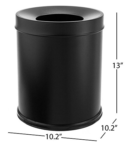 "Bennett ""Center Open"" Trash Can, Small Office Metal Wastebasket, Modern Home Décor, Round Shape (Black)"