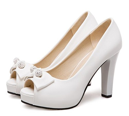 Aisun Donna Carino Perline Basso Taglio Grosso Tacco Alto Dressy Slip On Platform Peep Toe Pumps Scarpe Con Archi Bianchi