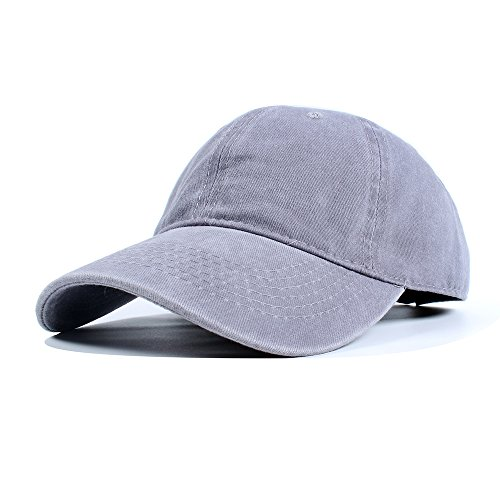 Vankerful Unisex Vintage Washed Dyed Dad Hat Plain Cotton Twill Low Profile Adjustable Solid Colour Baseball Cap Strapback (Grey) (Cap Cotton Solid)