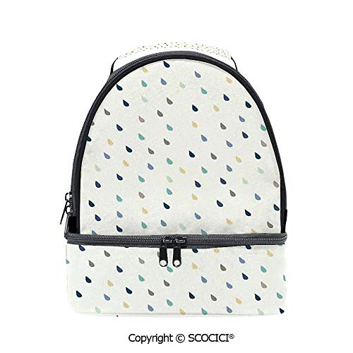 SCOCICI Large Capacity Durable Material Lunch Box Saturated Spherical Teardrop Shaped Rain Water Droplets Particles Design Fusion Image Multipurpose Adjustable Lunch Bag