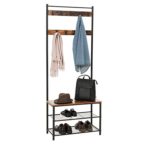 Hall Tree Furniture - SONGMICS Vintage Coat Rack with Hooks, Hall Tree Entryway Shoe Bench Rack and Coat Stand, Storage Shelf Organizer, Accent Furniture with Metal Frame, UHSR41BX