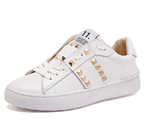 YCMDM donne in vera pelle rivetti personalizzati casual scarpe bianche scarpe sportive scarpe primavera ed estate , white , 42 men