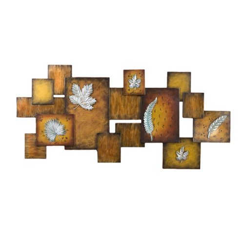 Southern Enterprises Faux Fossil Leaves Abstract Wall Art Panel, Earth Tones with Agate Green - Panel Floral Earthtone