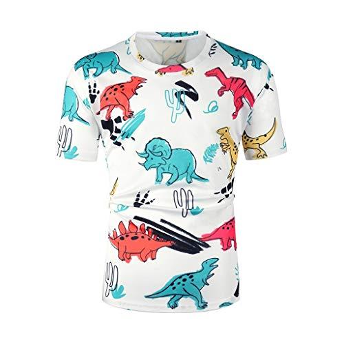YAYUMI Men's Short Sleeve 3D Dinosaur Cartoon Print Round Neck Slim Casual Short Shirts White