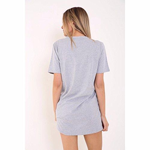 Lettre Clothink Cou Noir Ras Du Cou Imprimé Manches Courtes T-shirt Gris Robe