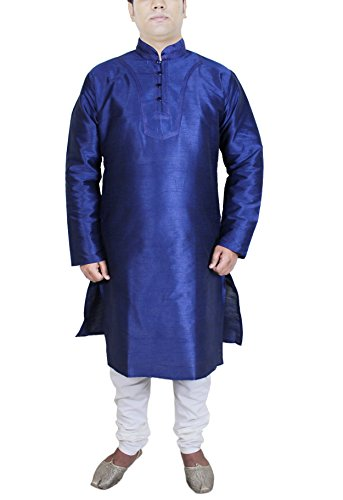 Mens Fashion Dress Pant Shirt Kurta Pajama Party Wear Indian Costume Blue Size L