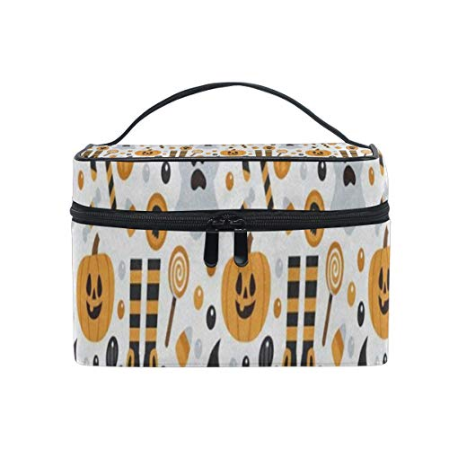 Makeup Bag Happy Halloween Pumpkin Cosmetic Bag Portable Large Toiletry Bag for Women/Girls Travel ()
