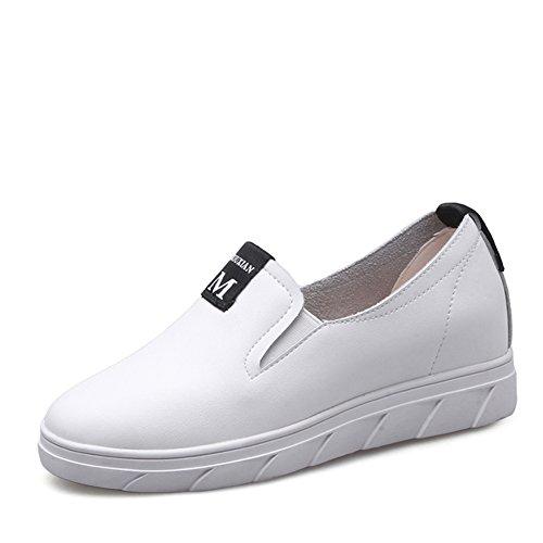 Zapatos Blancos Aumenta En La Primavera,Los Zapatos De Las Mujeres,Versión Coreana Lok Fu De Zapatos De Cuero,Zapatos Plano Casuales,Zapatos Nude B