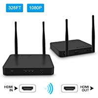 Wireless HDMI Extender / Adapter / Dongle 328 Ft ( HDMI Transmitter + Receiver ) Supporting HD 1080P Video & Digital Audio from Laptop, PC, Cable, Netflix, YouTube, PS4 to HDTV/Projector