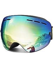 FYLINA Skibrille Winter Sport Outdoor über Gläser Snowboardbrillen mit Anti-Nebel UV400 Schutz Anti-Fog Windwiderstand Austauschbare Frameless Sphärische Linse Ski Gläser Skifahren(Gold)