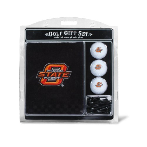 Team Golf NCAA Oklahoma State Cowboys Gift Set Embroidered Golf Towel, 3 Golf Balls, and 14 Golf Tees 2-3/4