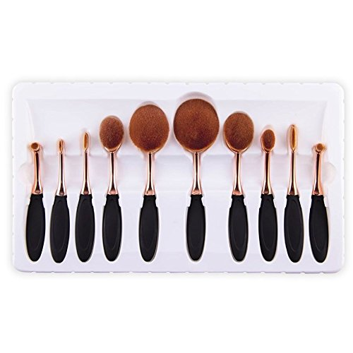 10pcs-toothbrush-oval-makeup-brushes-set-golden-deluxe-puff-set-gift-box
