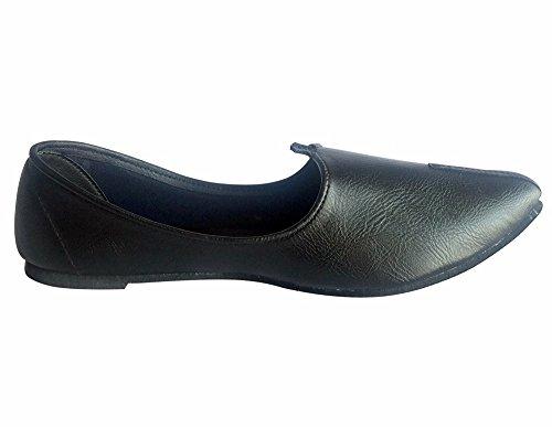 Étape N Style Indien Hommes Chaussures En Cuir Noir Tongs À La Main Khussa Mojari Plat Noir