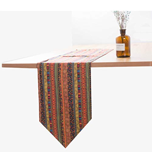 US-ROGEWIN Table Runner 1 Piece Vintage Classical Flax Cotton Strip Tea Cover Television Cabinet Weding Decoration Bed Flag -