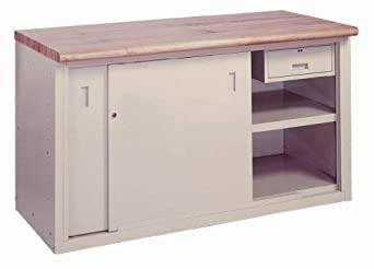 "Lyon BB2837 Steel Top Pre-Engineered Cabinet Work Bench with Sliding Doors and Drawer, 72"" Width x 28"" Depth x 34"" Height, Wedgewood Blue"
