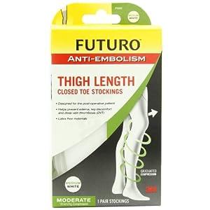 Futuro Anti-Embolism Stockings Thigh Length, Moderate Compression, Closed Toe, White, Medium Regular