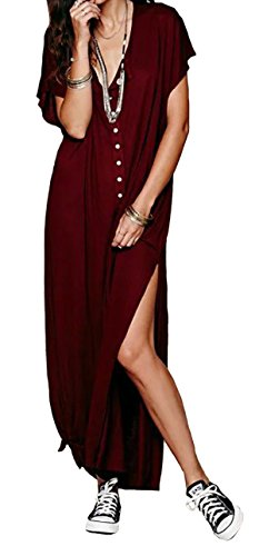 R.Vivimos Women Short Sleeve Casual O-Neck Maxi Long T-Shirt Dresses