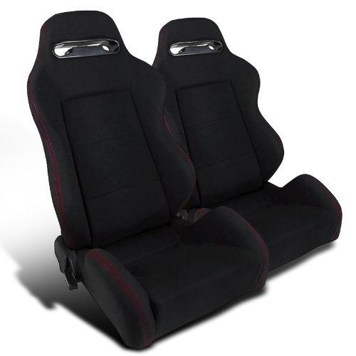 Gt Racing Seat (2pcs Jdm Black Cloth, Fully Reclinable, Racing Seats)