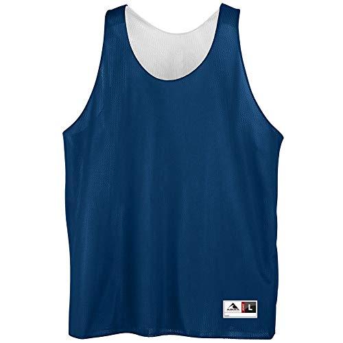 Augusta Sportswear Men's Reversible Mini mesh League Tank, Navy/White, Large
