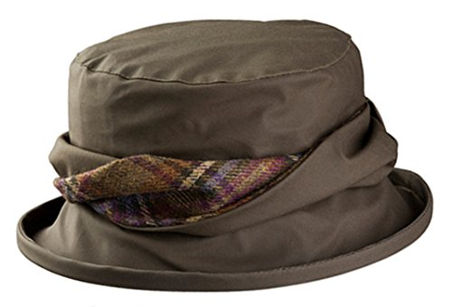 Olney Emma Waterproof Wax Hat with Tweed Trim (Army (Military Tweed Hat)