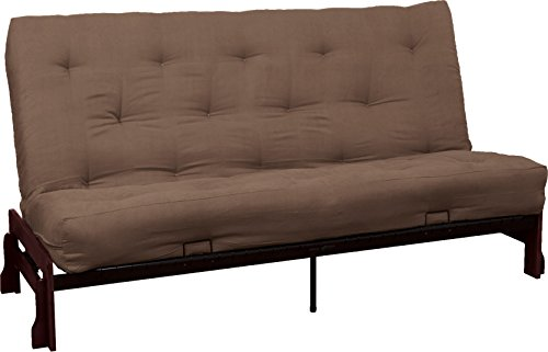Bali True 8-inch Loft Cotton/Foam Futon Sofa Sleeper Bed, Queen-size, Mahogany Arm Finish, Microfiber Suede Mocha Brown Upholstery