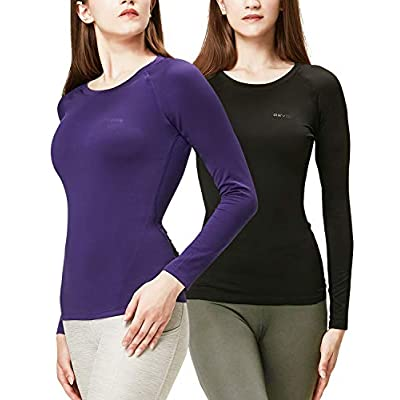 DEVOPS Women's 2 Pack Thermal Heat-Chain Compression Baselayer Tops Long Sleeve T-Shirts at Women's Clothing store