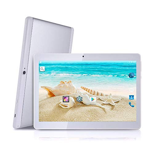 BeyondTab Android Tablet with SIM Card Slot Unlocked 10 inch -10.1 IPS Screen Octa Core 4GB RAM 64GB ROM 3G Phablet with WiFi GPS Bluetooth Tablet (Silver)