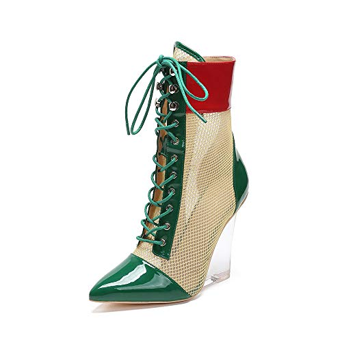 MACKIN J 312-1 Multi- Color Lucite Lace Up Wedge Bootie(8, Green)